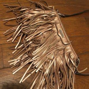 Rebecca Minkoff Finn copper crossbody fringe bag